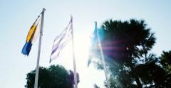 Flag of Thessaloniki, Flag of Greece, Flag of European Union Stock Footage
