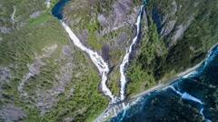 Aerial footage Latefossen waterfall Norway Stock Footage