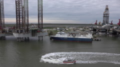 Galveston Texas Cruise oil platform homeland security boat HD Arkistovideo