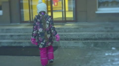 Little Girl is Walking Home by Stairs Enters House Doors Are Opening Stock Footage
