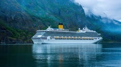 Cruise Ship, Cruise Liners On Hardanger fjorden, Norway Stock Footage