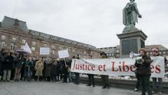 People protesting against government's plan of the extension of the 'state of Stock Footage