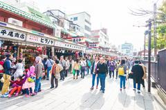 TOKYO - November 24 2015 : Many People around shopping street in Asakusa area - stock photo