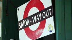 Saida, way out sign in Portuguese, close up, Portugal Stock Footage