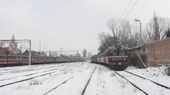 Two Red Trains Passenger Electric Trains Stopped at The Railway Station Stock Footage