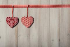 Hearts on vintage wood background, decorate valentine's day Stock Photos