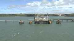 A liquid petroleum gas vessel in Milford Haven, Pembrokeshire, Wales. Stock Footage