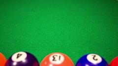 Billiard balls on green baize - stock footage