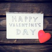 Note Happy Valentine's Day - stock photo