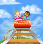 Roller Coaster Amusement Park Stock Illustration