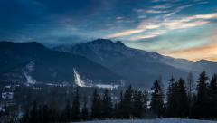 World cup ski jumping in Zakopane at sunset, 4k timelapse. Stock Footage