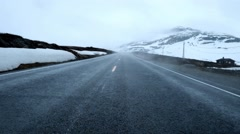 Fog on the road, Norway. Stock Footage