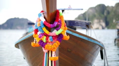Closeup view of beautiful traditional thai longtail boat Stock Footage