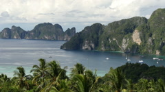 Panning view of beautiful bay near Koh Phi Phi Don island from Phi Phi Viewpoint Stock Footage