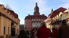 Tourists from Germany visit the sights of the castle Ksiaz Stock Footage