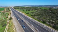 Aerial footage of Highway road with traffic passing - stock footage