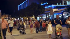BITOLA, MACEDONIA - JULY, 2015: People walking on main street at night. Stock Footage
