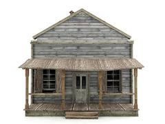 Abandoned house isolated front view - stock illustration