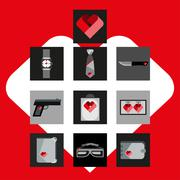 St. Valentines Day Symbols mens Accessories Icons Set Flat Design Stock Illustration
