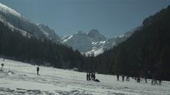 Snowy Mountain Ski Piste People Stock Footage