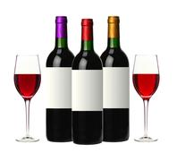 Bottles of red wine isolated on white Stock Photos