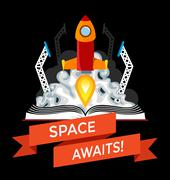 Sci-Fi Book with Rocket Launch Stock Illustration