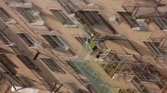 Building repair by lazy workers in Moscow Stock Footage