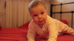 Baby smile in bed Stock Footage