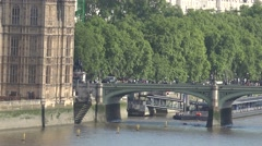 4K Traffic car Westminster Bridge central London tourism attraction people trip - stock footage