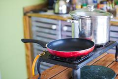 Gas stove and frying pan - stock photo