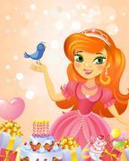 Happy Birthday, Princess, greeting card. - stock illustration
