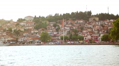 OHRID, MACEDONIA, JUNE 2015: Beautiful seaside view of Ohrid town. Stock Footage