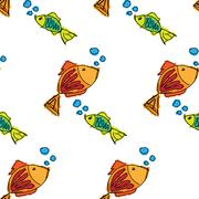 Fish contour hand drawn painted on a white background, seamless pattern Stock Illustration