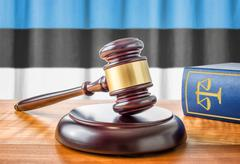 A gavel and a law book - Estonia - stock photo