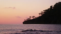 Sea waves and peninsula silhouette with trees at sunset. Stock Footage