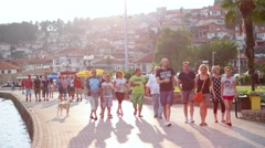 OHRID, MACEDONIA, JUNE 2015: Everyday scene from Ohrid city of Macedonia. - stock footage