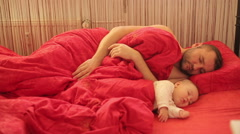 Father And Son Sleeping Stock Footage