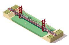 Vector isometric suspension bridge Stock Illustration