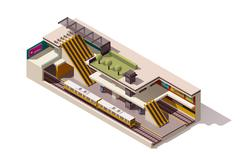 Vector isometric subway station cross section - stock illustration