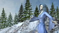 Stock Illustration of Mountain Princess Elf in Waving Blue Dress