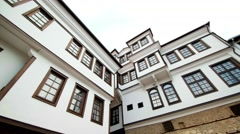 Traditional Ohrid houses in Macedonia - stock footage