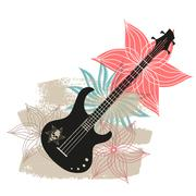 Abstract with bass on a light background - stock illustration