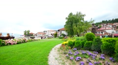 OHRID, MACEDONIA, JUNE 2015: Beautiful park view in the center of Ohrid city. Stock Footage