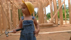 Little Boy Builder On Construction Site Stock Footage