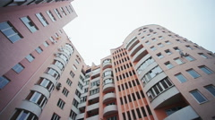 Wide angle pamorama of new apartments buildings exterior Stock Footage