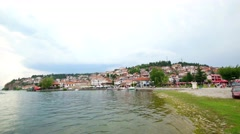 Everyday scene from Ohrid city of Macedonia - stock footage