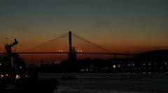 Charleston Bridge At Sunset Stock Footage
