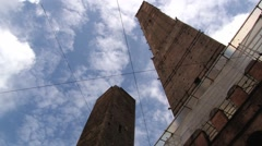 View to the famous Asiinelli and Garisenda towers in Bologna, Italy. Stock Footage