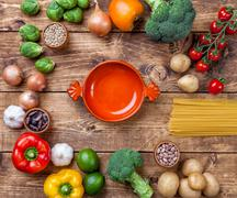 Fresh and healthy organic vegetables and food ingredients - stock photo