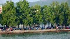 Beautiful seaside view of Ohrid town. Stock Footage